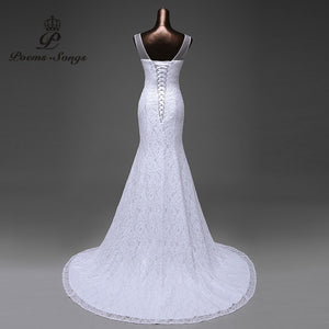 Hot Sale Lace Flowers Very Sexy Backless Mermaid Wedding Dresses - Shopatronics