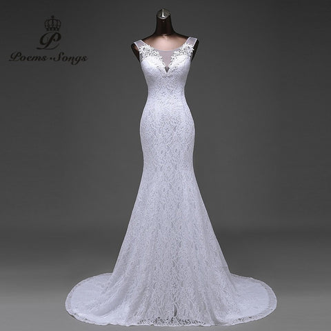 Hot sale Real photo lace flowers  very Sexy  backless  mermaid Wedding Dresses vestidos de noiva robe de mariage ball gown - Shopatronics - One Stop Shop. Find the Best Selling Products Online Today