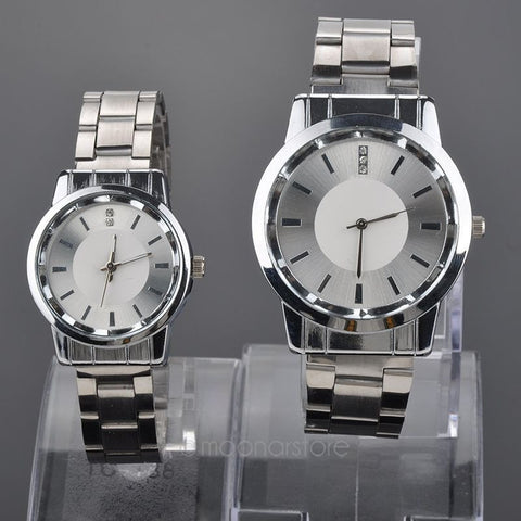 Hot selling new Lovers Quartz watches Silver Watch Steel Band Women dress Watches Rhinestone relogio for couples - Shopatronics - One Stop Shop. Find the Best Selling Products Online Today