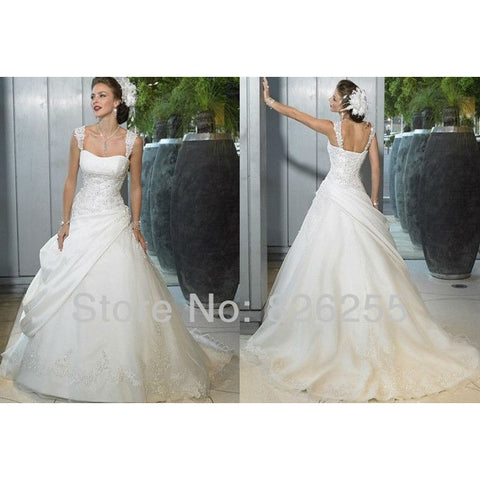 In Stock Cheap Hot Sale White/Ivory Appliques A-lineTaffeta Wedding Dresses/Gowns with Appliques WD0340 - Shopatronics