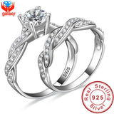 Infinity Love Simulated Diamond Engagement Wedding Ring Sets 925 Sterling Silver Sona Diamond Ring Women Bridal Jewelry ZR138 - Shopatronics