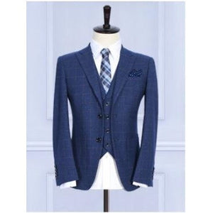 (Jacket+Pants+Vest) Wool Blue Men's suits tailor suit Blazer suits for men - Shopatronics - One Stop Shop. Find the Best Selling Products Online Today