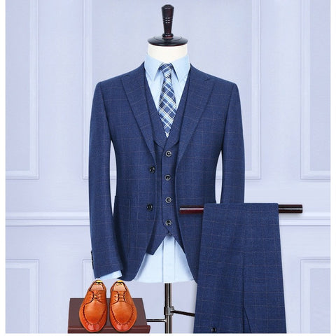 (Jacket+Pants+Vest) Wool Blue Herringbone Retro gentleman style custom made Men's suits tailor suit Blazer suits for men - Shopatronics - One Stop Shop. Find the Best Selling Products Online Today