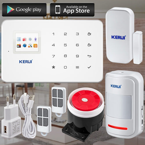 KERUI Factory G18 Android ISO App Wireless GSM Home Alarm System SIM Smart Home Burglar Security Alarm System Kit PIR infrared - Shopatronics