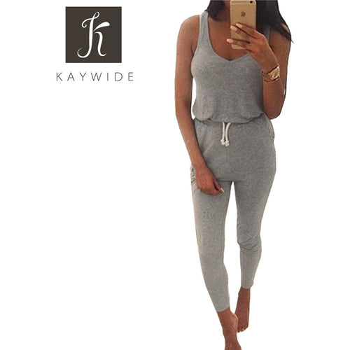 Kaywide New 2016 Summer Low Cut Rompers Womens Jumpsuit Black Elastic Waist Sleeveless Long Pants Playsuit Strap Pocket Overalls - Shopatronics