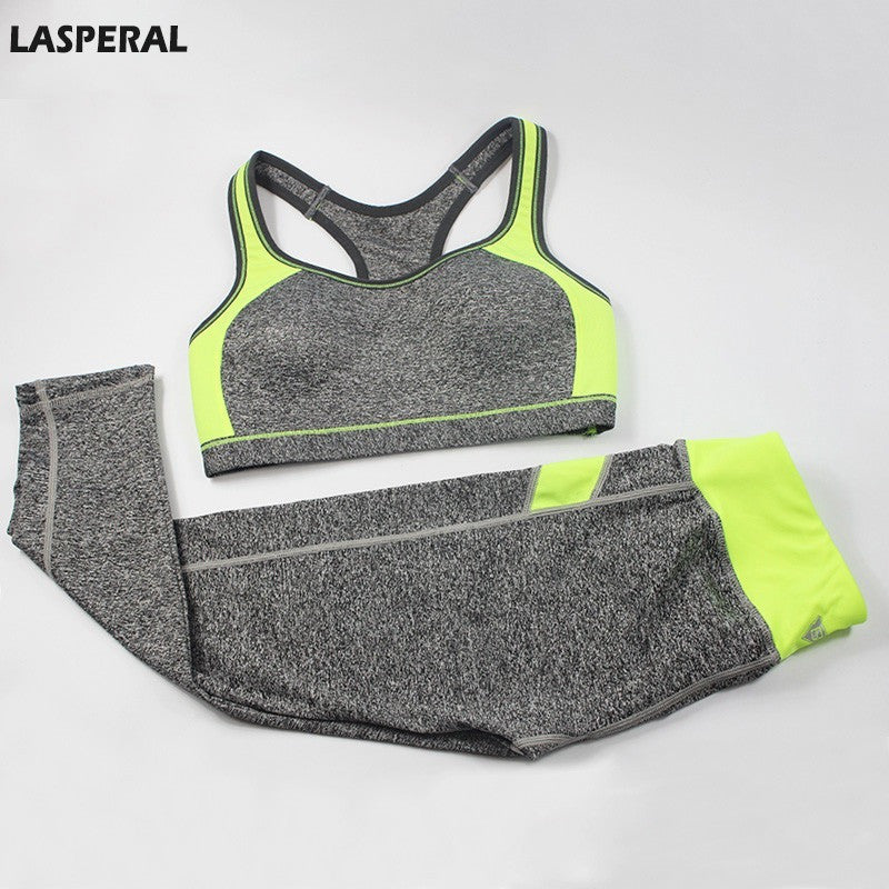 LASPERAL Women Sport Suit Patchwork Padded Bra Crop Top And Elastic Legging Capris Running Jogging Sport Set For Women Fitness - Shopatronics