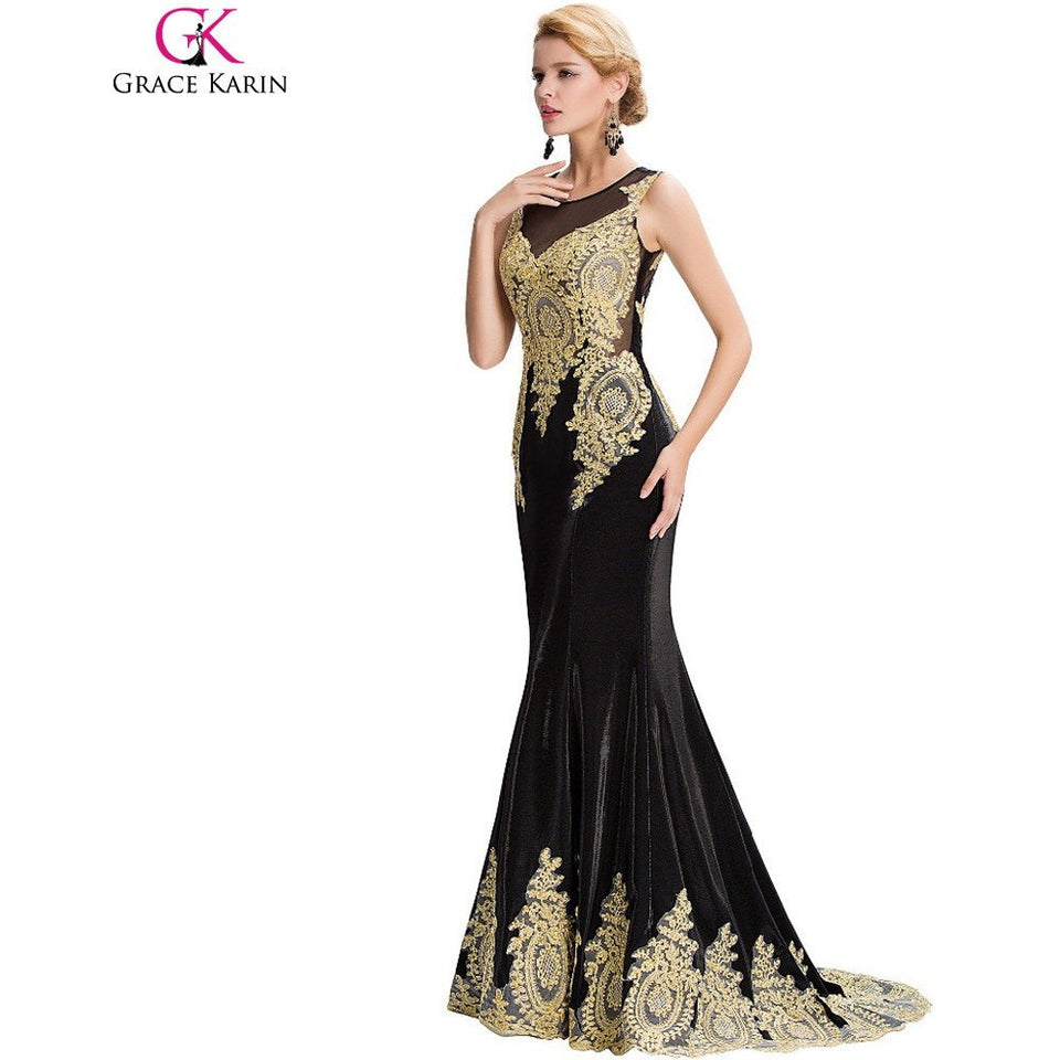 Long Mermaid Evening Dress Grace Karin White Black Blue Red Gold Appliques Floor Length Women Formal Gowns Elegant Party Dresses - Shopatronics