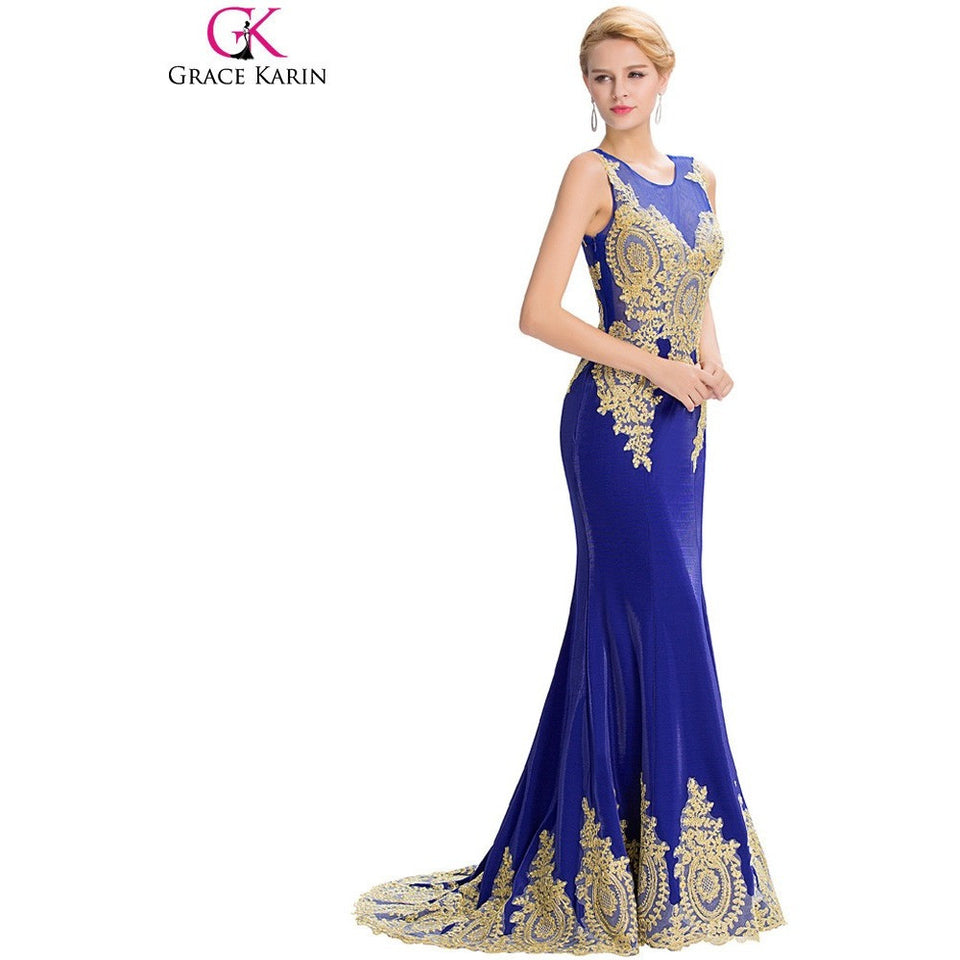 Long Mermaid Evening Dress Grace Karin White Black Blue Red Gold Appliques Floor Length Women Formal Gowns Elegant Party Dresses - Shopatronics - One Stop Shop. Find the Best Selling Products Online Today
