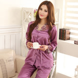 Lovers Sleepwear Silk Pajamas Set Spring Autumn Length Pants Leisure Lounge Set Women Men Champagne Pajamas M,L,XL,XXL,XXXL - Shopatronics
