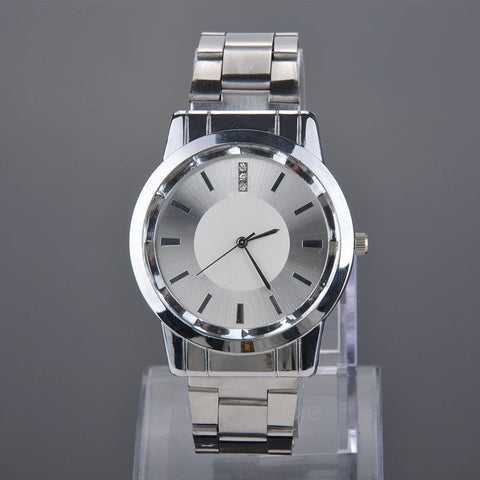Lovers Watches Crystal Inlaid Full Steel Quartz Watch Women Men Casual Wristwatches Silver - Shopatronics
