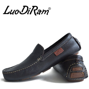 LuoDiRam Brand 2016 High Quality Genuine Leather Men Shoes, Soft Leather Men Loafers,  Fashion Mocasines Hombre, Brand Men Flats - Shopatronics