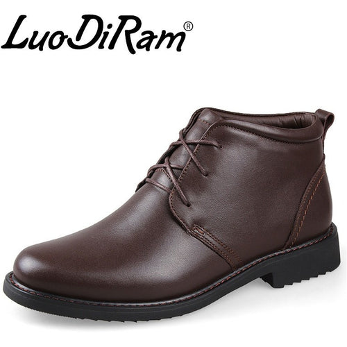 LuoDiRam Brand Hot Sale Men Leather Boots, Men Ankle Boots, Fashion Leather Men Winter Shoes, Genuine Leather Men Boots - Shopatronics
