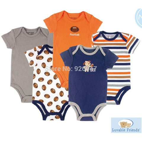 Luvable Friends 5pcs/ lot Baby Romper Hanging Blue Short Sleeve New Born Baby Body Infantil Boy/Girl Clothes Baby Clothing - Shopatronics - One Stop Shop. Find the Best Selling Products Online Today