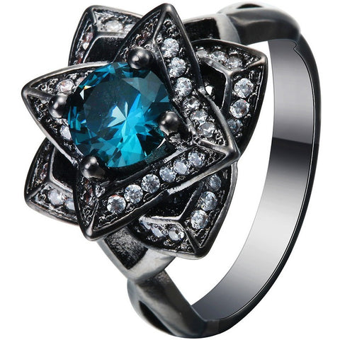 Luxury the topaz love flower Blue CZ Diamond Wedding Ring Black gold Plated Crystal 2016 new Vintage engagement jewelry - Shopatronics