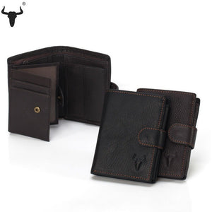Men Organizer Wallets Brand Vintage Genuine Oil Wax Leather Cowhide Short Bifold Men's Wallet Purse Card Holder With Coin Pocket - Shopatronics