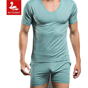 Men T Shirt Cotton Pajama Set Sleepwear Sexy Mens Underwear Tees Undershirts Tshirts Brand  Casual Short Sleeve Boxers - Shopatronics