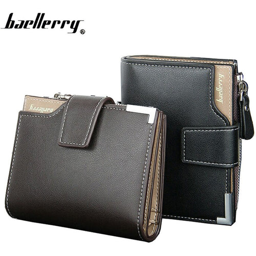 Men baellerry Short Wallets Balck Brown Bifold Wallet Mens Genuine PU Leather Card holder Coin With Zipper Wallet Purses Pockets - Shopatronics