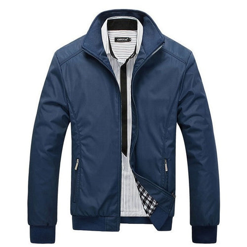 Men's Jacket Spring Autumn Jacket Solid Color Slim Plus Size Casual Coat Windbreak Outwear Y00120 - Shopatronics