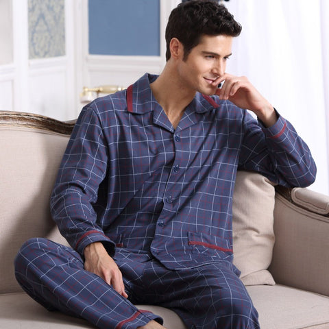 Men's Pajamas Spring Autumn Long Sleeve Sleepwear Cotton Plaid Cardigan Pyjamas Men Lounge Pajama Sets Plus size 4XL 5XL Sleep - Shopatronics - One Stop Shop. Find the Best Selling Products Online Today