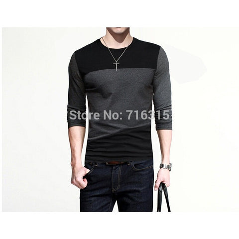 Mens Casual T-Shirts Tops Tee Crew Neck Long Sleeve Slim Fit Men's T Shirt Top Tee for Men - Shopatronics