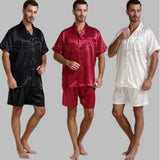 Mens Silk Satin Pajamas Pajama Pyjamas Short  Set  Sleepwear Loungewear U.S.S,M,L,XL,2XL,3XL ,4XL  Solid__6Colors - Shopatronics