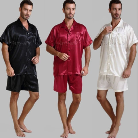 Mens Silk Satin Pajamas Pajama Pyjamas Short  Set  Sleepwear Loungewear U.S.S,M,L,XL,2XL,3XL ,4XL  Solid__6Colors - Shopatronics - One Stop Shop. Find the Best Selling Products Online Today