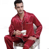 Mens Silk Satin Pajamas  Pyjamas  Set  Sleepwear Set  Loungewear  U.S. S,M,L,XL,XXL,XXXL,4XL__Fits All  Seasons - Shopatronics
