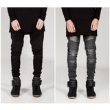Mens Skinny jeans men 2016 Runway Distressed slim elastic jeans denim Biker jeans hiphop pants Washed black jeans for men blue - Shopatronics