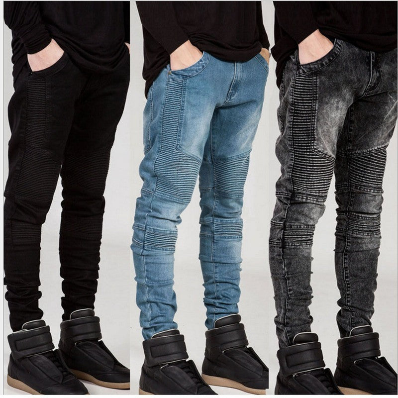 Mens Skinny jeans men Runway Distressed slim elastic jeans denim Biker jeans hiphop pants Washed black jeans for men blue - Shopatronics