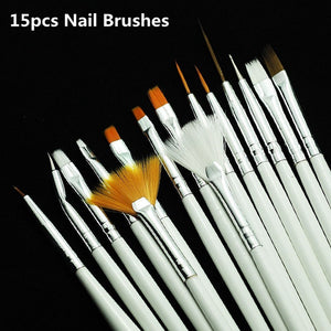Nail Art Brushes Set,15pcs White Decorations Gel Painting Pen Nail Brush, Professional Nail Equipment Drawing Tool - Shopatronics