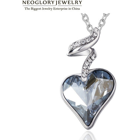 Neoglory Blue Austrian Crystal Rhinestone Heart Love Chain Necklaces & Pendants Women New 2016 New Gifts India Jewelry JS4 HE1 - Shopatronics