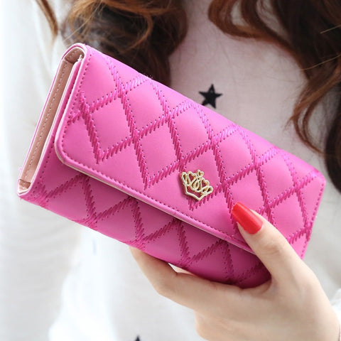 New casual high-capacity women wallets Lingge metal crown lady long day clutch wallet  high quality  purse for women - Shopatronics