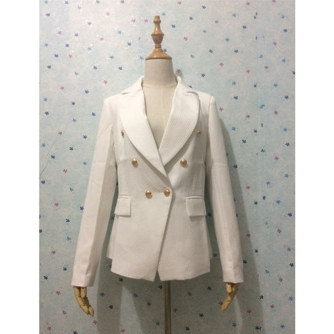 New 2016 White Blazer Women Slim Blaser Double Breasted Design Plus Size Blazer Feminino Female Suit Jacket Women Work Wear - Shopatronics