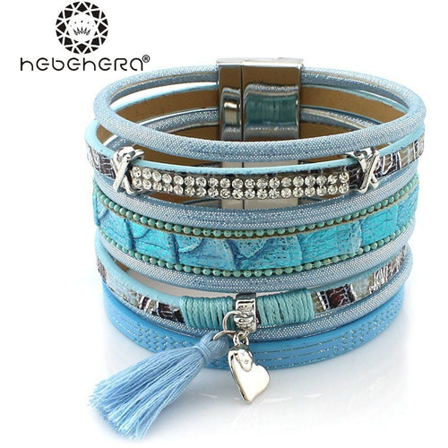 New Arrival Fashion Multilayer Rhinestone Leather Tassel Bracelet Bangle Magnetic Jewelry for Women pulseira feminina Friendship - Shopatronics