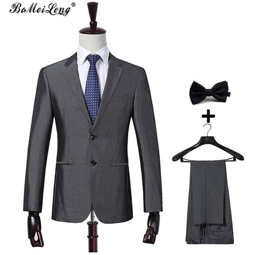 New Arrival Terno Masculino Vestidos Defesta Men Suits For Wedding Blazer Latest Coat With Pant Silver Dark Grey Costume Homme - Shopatronics