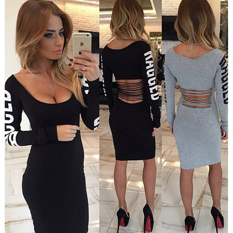 New Arrival Winter Bandage Dress Women Square Collar Sexy Party Dresses Full Sleeve Letters Print Bodycon Plus Size Hollow Dress - Shopatronics