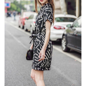 New European Style Stylish Dresses Summer Short Sleeve Lapel Dress Office Career OL Dress Casual Slim Evening Party Dress ED59 - Shopatronics