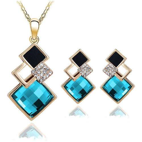 New Fashion womens Geometry square jewellery set of blue wedding jewerly sets for women with Sapphire african Female Jewelry set - Shopatronics