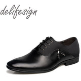 New Mens Oxford Shoes PU Leather Solid Black Brown Yellow  Business office wedding For Men Flats shoes big size 38-47 - Shopatronics
