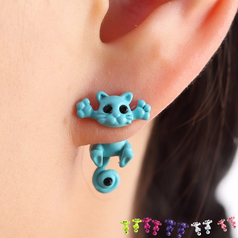 New Multiple Color Classic Fashion  Kitten Animal brincos Jewelry Cute Cat Stud Earrings For Women Girls - Shopatronics
