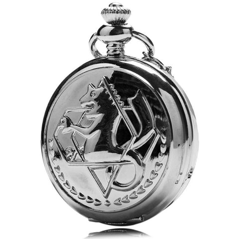 New Silver Tone Fullmetal Alchemist Pocket Watch Cosplay Edward Elric with Chain Anime Boys Gift Wholesale P423 - Shopatronics - One Stop Shop. Find the Best Selling Products Online Today