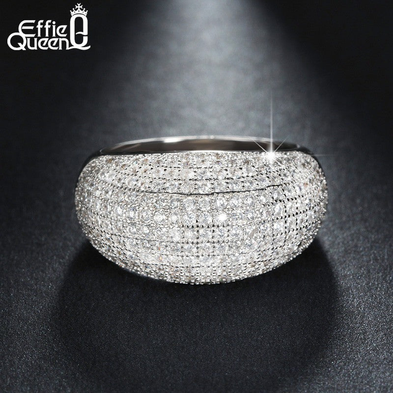New Trendy Brand Charming 196 Pieces Zircons Smoothly Paved Women Finger Ring Real White Gold Plated Crystal Ring DAR065 - Shopatronics