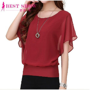 New Womens Tops Fashion 2016 Women Summer Chiffon Blouse Plus Size Ruffle Batwing Short Sleeve Casual Shirt Black White Red Blue - Shopatronics