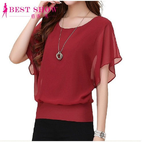 New Womens Tops Fashion 2016 Women Summer Chiffon Blouse Plus Size Ruffle Batwing Short Sleeve Casual Shirt Black White Red Blue - Shopatronics - One Stop Shop. Find the Best Selling Products Online Today