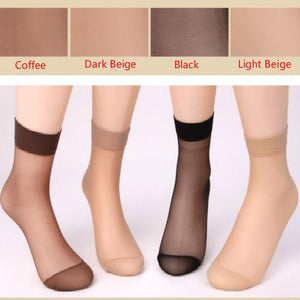 Newly Design 10 Pairs Women's Socks Crystal Thin Transparent Thin Silk Socks - Shopatronics