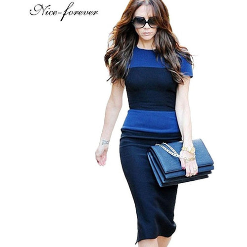 Nice-forever new Women's summer knee-length Vintage European Style Back Zipper Stripe Splicing Pencil Bodycon party Dresses 463 - Shopatronics - One Stop Shop. Find the Best Selling Products Online Today