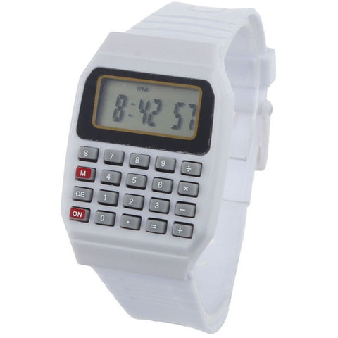 Novel design Unsex Silicone Multi-Purpose Date Time Electronic Wrist Calculator Watch White bb - Shopatronics