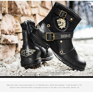 OTTO ZONE Top Quality Handmade Genuine Cow Leather Ankle Boots Fashion Martin Boots With Fur Men Winter Rivet Shoes EU 38-45 - Shopatronics