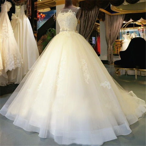 Organza Lace  Floor-Length  Ball Gown Wedding dress Chapel Train  Lace up  Beading  Bridal Gown Custom made - Shopatronics - One Stop Shop. Find the Best Selling Products Online Today