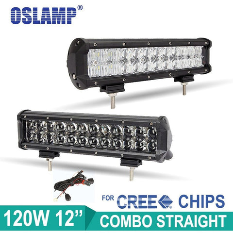 "Oslamp 120W 12"" CREE Led Chips Light Bar 4D/5D Auto LED Bar OffRoad SUV Combo Work Light for Car Driving Led Light Bar Boat ATV - Shopatronics"